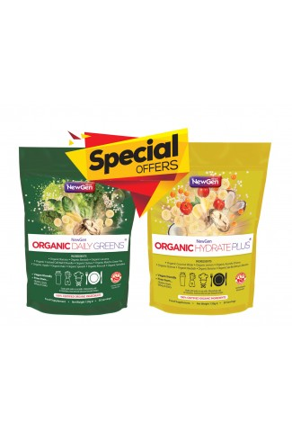 Products of the month £12 off - 1 x Organic Hydrate Plus and 1 x |Organic Daily Greens - Normal SRP £89.98