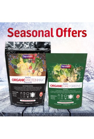 Seasonal Sale - £12 off  1 x Organic Daily Greens and 1 x Organic ProteinMax Chocolate Normal SRP £84.99